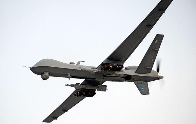 ABD'nin İnsansız Hava Araçlarından füze yüklü 'Reaper'. Reaper, biçerdöver veya Canalıcı anlamına gelir.