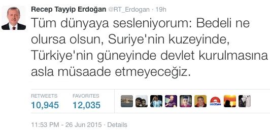 Erdoğan Twitter'den tüm dünyaya seslendi.