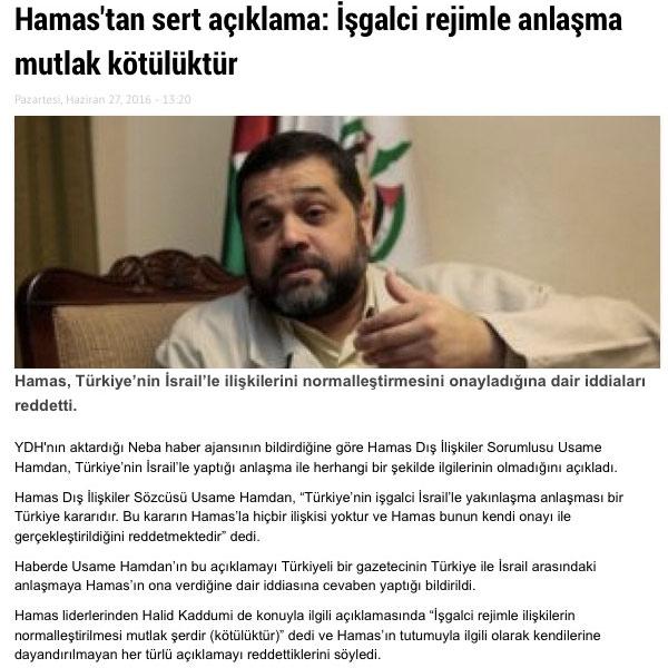 Ak-Medya Hamas'ın teşekkür ettiği şeklinde manşetler atınca...