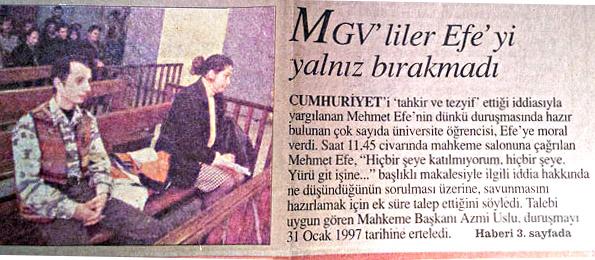 Mehmet Efe duruşmada