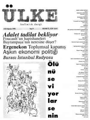 Ülke Dergisi, 4 Ağustos 1996, Kapak.